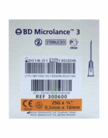 BD MICROLANCE 3, G25 5/8, 0,5 mm x 16 mm, orange  à DURMENACH