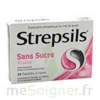STREPSILS FRAISE SANS SUCRE, pastille édulcorée à l'isomalt, au maltitol et à la saccharine sodique à DURMENACH