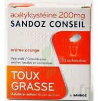 ACETYLCYSTEINE SANDOZ CONSEIL 200 mg Glé solution buvable en sachet-dose 20Sach/1g à DURMENACH